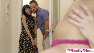 Pervy Step Parents Watch Bro Cum Inside His StepSis - My Family Pies S4:E3 Cowgirl interracial