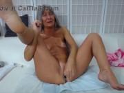 Slutty granny Leilani with grey hair n hungry creamy cunt