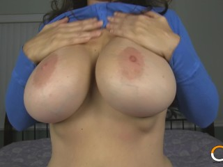 MILF Charlee Chase Oils Up Her Massive Tits and Plays With Them!