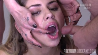 Premium Bukkake - Julie Red swallows 61 big cum loads in gokkun bukkake Spit cumshot