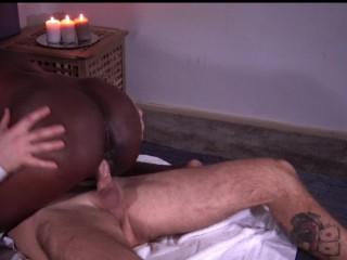 Latina get sensual massage with interracial sex and cum on ass - FULL HD