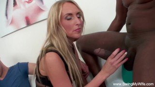 Blonde interracial bbc wife swinger for blowjob cuckold