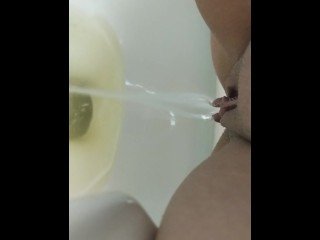 Teen Girl Pissing In Toilet So Husband Can Watch! Squirting It Hard!
