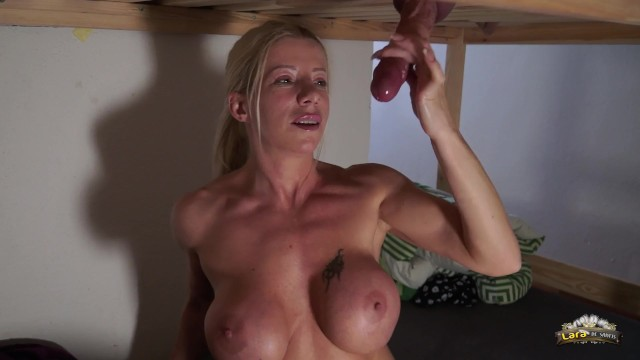 Lara De Santis milking a big cock what cums on her's big boobs in a hostel