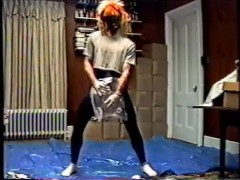 black tights & mask with crop top humping air pillow 1990's VHS quality