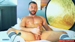 My handsome neighbour serviced his big cock in a gay porn