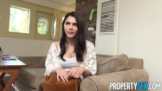 PropertySex - Hot busty Italian couch surfer fucks American host Tits sex