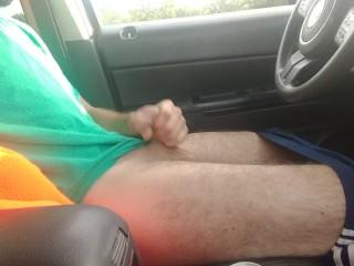Public car masturbation with no lube