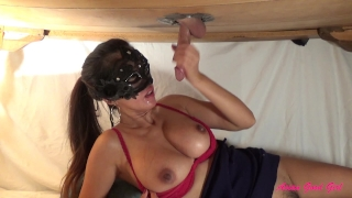 Milking cum from a big cock at gloryhole table  red bra asian massage cum onto tits big tits homemade thai couple femdom gloryhole milf interracial milking mask huge cumshot cock worship milking table