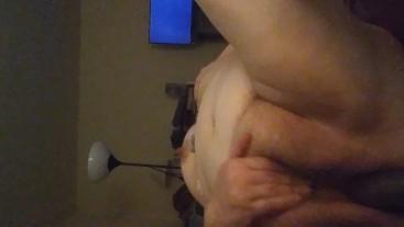 BBW masturbates while roommates are in the next room