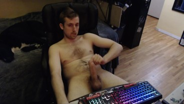 Jerking off my big hard dick (no cum) young horny canadian boy goes at it