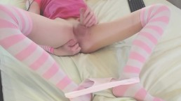 Smooth femboy in pink fingers himself and jerk off