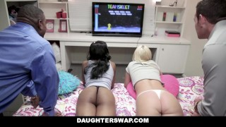 DaughterSwap - Videogame StepDaughters Fuck Each Others Dads Brunette fuck