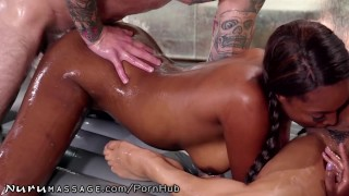 NuruMassage Daddy Gets Teen Masseuse Kira Noir & Ebony Bestie Ass big