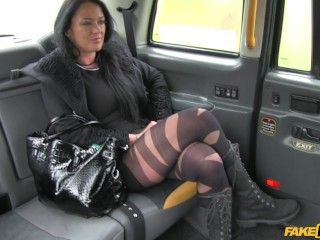 A little pussy with your pizza fake taxi local escort fucks taxi man on her way to a client, faketax