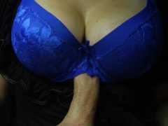 Afterparty titfuck in a black dress and blue bra