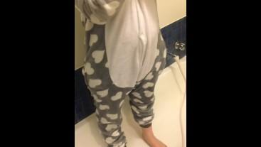 Peeing in a bunny onesie!