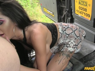 Young female orgasm fake taxi - cheating brunette in anal creampie