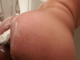 Extreme Anal Stretching with Huge Homemade Dildo