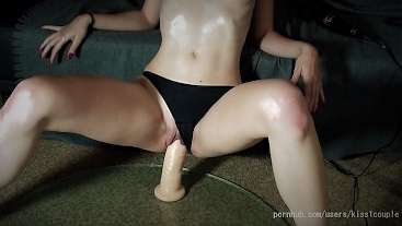 Horny girlfriend rides a monster dildo, and she loves it