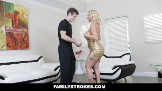 FamilyStrokes - Sexy Stepmom Teaches Stepson To Dance And Fuck Strap juice