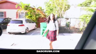 DadCrush - Teen Schoolgirl Fucked By Angry Stepdad Pounding natural