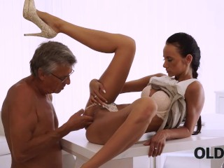 OLD4K Young chick tastes chief s dick in nice old and young video