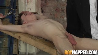 Candle waxed twink slave receives blowjob from his master Of 3some