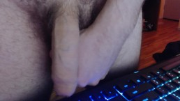 Huge uncut dick up close