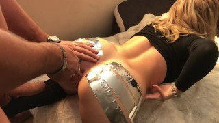 ANAL GAPE CHALLENGE ` Schoolgirl loves to be Streched w/ Duct Tape Amateur wife