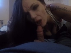 Tatted Ex Con gives a special Blowjob