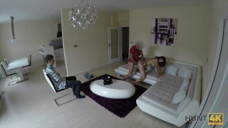 HUNT4K. Submissive cuckold watches slutty GF fucked hard by lover
