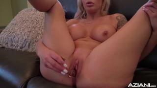 Sexy blonde Nina Elle dildos her pussy till she reaches orgasm Sensual latex