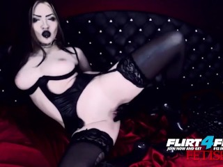 Erny Dark on Flirt4Free – Goth Babe in Latex and Stockings Pleasures Pussy