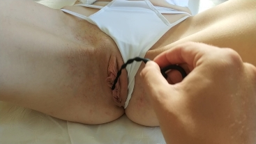 First toy anal insertion, uretra small toy