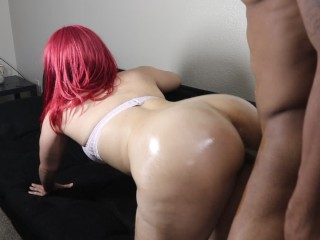 Slutty red head w/ nice ass sucks BBC & gets bent over and cummed in!