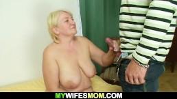 Guy helps girlfriend's old mother cum
