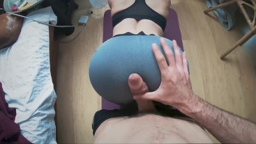 Yoga Pants Grinding with Huge Cumshot!