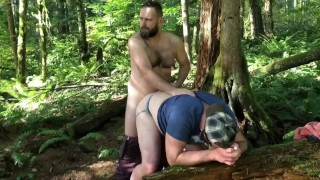 Hairy Bear Dads out in the woods. Fucking and sucking