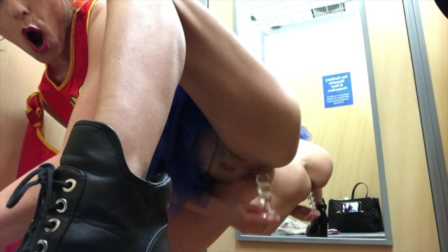 Adult halloween outfit Tanned milf changeroom public dildo wonderwoman outfit