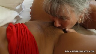 BACKSIDE Two MILFs Spank Asses and Lick Assholes Black lez