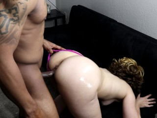 Slutty blonde chick gets panties pulled to the side & fucked over couch!