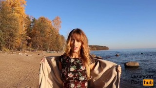 Outdoor Blowjob and Cum in Mouth! - Sweet Teen Doing Blowjob on the Beach.