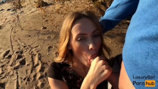 Outdoor Blowjob and Cum in Mouth! - Sweet Teen Doing Blowjob on the Beach. porno