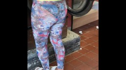 Wife in See through tights doing laundry
