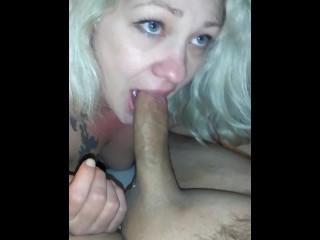 Amateur russian threesome wife trying to deepthroat, slut blonde wife blowjob handjob deepthroat