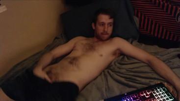 Fondling dick and teasing on cam hot amateur stud feels himself (no cum)