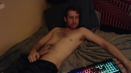 Horny stud fondles, shows off his uncut cock and teases on live webcam