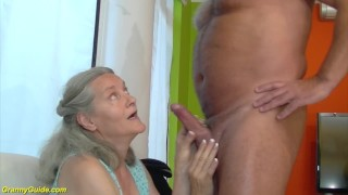 92 years old granny doing deepthroat Girl sucking