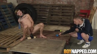 Chained gay slave shoves a giant dildo up his ass for master Brunette anal